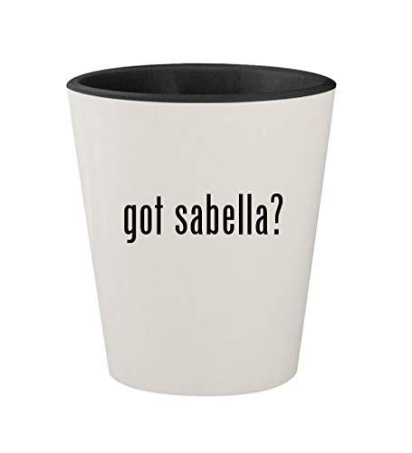 got sabella? - Ceramic White Outer & Black Inner 1.5oz Shot Glass