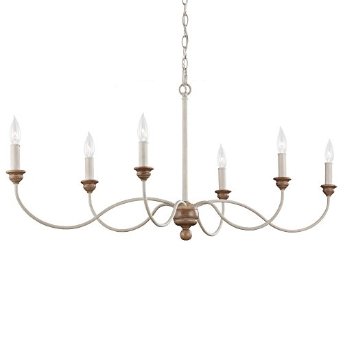 Feiss F3000 6CHKW BW Hartsville Farmhouse Candle Chandelier Lighting, White, 6-Light 15 W x 19 H 360watts