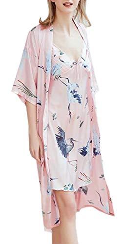 CYJ-shiba Women's Sexy Silk Satin Robe Camisole Pajama Dress 2 Piece Suit Sleepwear 1 L