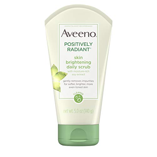 Aveeno Positively Radiant Skin Brightening Exfoliating Daily Facial Scrub with Moisture-Rich Soy Extract, Jojoba & Castor Oils, Soap-Free, Hypoallergenic & Non-Comedogenic Face Cleanser, 5 oz (Best Drugstore Toner For Acne Prone Skin)