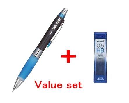 Uni-ball Alpha-gel Shaker Mechanical Pencil -Blue - Slightly Firm Grip 0.5mm -(M5618gg1p.40) & Diamond Infused Leads [Nano Dia-40 Leads] Value Set(with Our Shop Original Description of Goods)