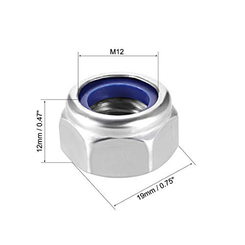 304 Stainless Steel Smooth Finish M12 x 1.75mm Hexagonal locknuts with Nylon Insert Pack of 20