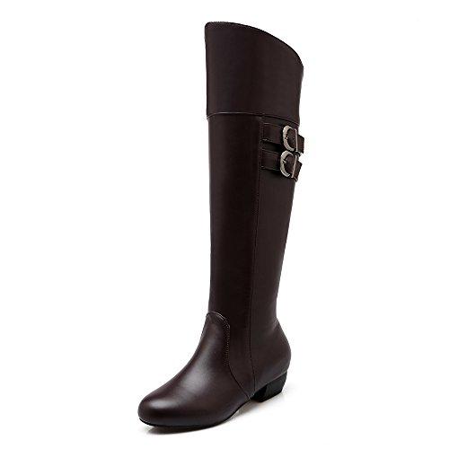 Womens AIWEIYi Boots Knee High Buckles Shoes Chunky Brown Heel Thigh Boots High 7qZ6qdwr