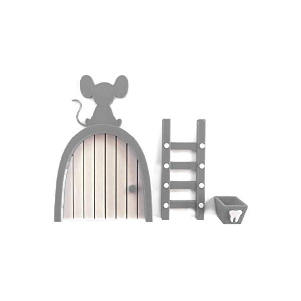 Ratoncito Perez puerta gris a su casita con escalera y cajita para diente de leche y moneda dorada para poner en… 2