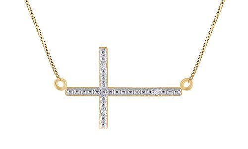 White Natural Diamond Accent Sideways Cross Pendant Necklace 14K Yellow Gold Over Sterling Silver