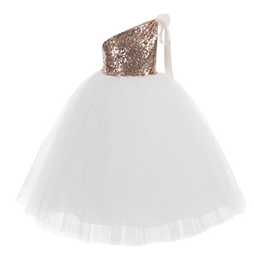 ekidsbridal One-Shoulder Sequin Tutu Flower Girl Dress Wedding Pageant Dresses Ball Gown Tutu Dresses 182 2 Rose Gold/Ivory]()