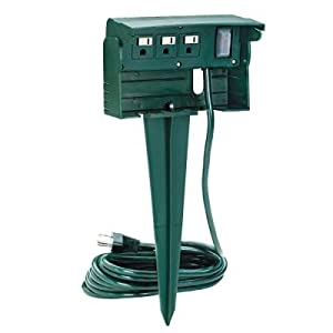 15 ft. 3-Outlet Outdoor Power Stake with Protective Outlet Cover