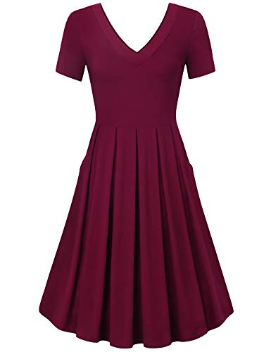 Messic Summer Dresses for Women Plus Size,Midi Dresses for Women, Ladies Short Sleeve Midi Dress Vintage Pleated Wedding Party Dress A Line Casual Dress for Holiday Wine XXL