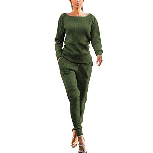 Respctful✿Womens Fall Rib-Knit Pullover Sweater Top & Long Pants Set 2 Piece Outfits Tracksuit