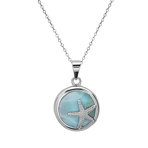 Beaux Bijoux Sterling Silver Natural Larimar Starfish Circle Pendant with 18