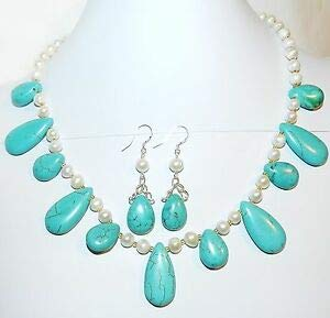 Steven_store GN295 Blue Turquoise Magnesite & White Pearls w Silver 18