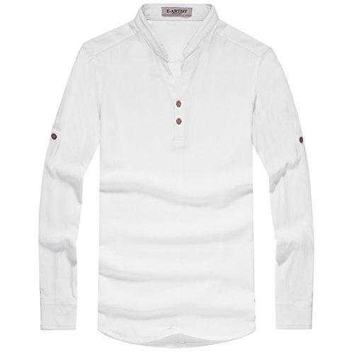 E-artist Men Stand Collar Marine Style Vintage Button Full Sleeve Tee Shirt 3X-Large White