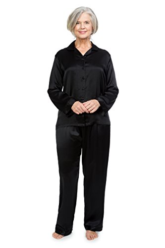 TexereSilk Women's 100% Silk Pajama Set - Luxury Sleepwear PJS (Morning Dew, Black, Medium/Tall) Special Mother's Day Gift WS0001-BLK-MT by TexereSilk