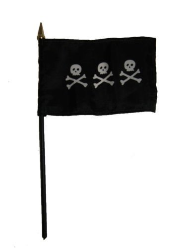 Wholesale Lot of 12 Jolly Roger Pirate Condent Skulls 4''x6'' Desk Table Flag BEST Garden Outdor Decor polyester material FLAG PREMIUM Vivid Color and UV Fade Resistant by Moon