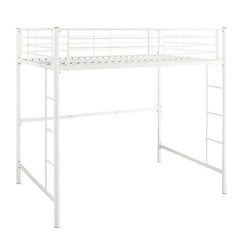 WE Furniture Full Metal Loft Bed - White