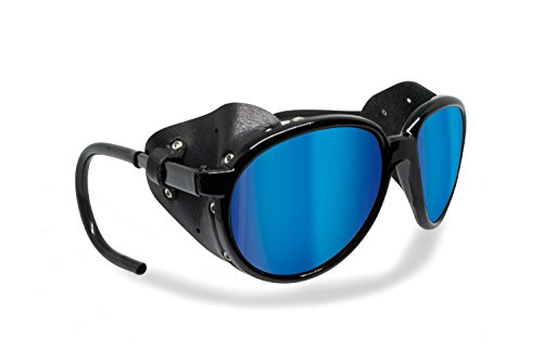Polarized Sunglasses for Mountain Hiking Trekking Glacier Snow mod. Cortina Italy Shiny Black (Smoke Polarized/Blue Mirror)