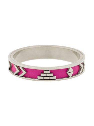 - House of Harlow 1960 Jewelry Aztec Bangle with Fuchsia Leather - Fuchsi