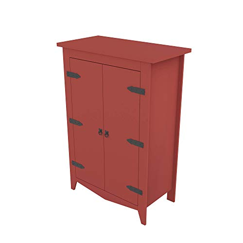 Armoire Storage Cabinet Classic Style Vintage Design Industrial (Red)