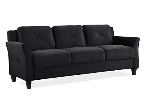 Lifestyle Solutions Collection Grayson Micro-fabric Sofa, Black - Made with 100% Polyester Upholstery Microfiber Material and Real Wood Legs and Wood Frame Hi-Density Seating Foam and Back Foam for Long Time Use Tool-less Assembly process with simply click in design - sofas-couches, living-room-furniture, living-room - 31%2BQSctWZ%2BL -