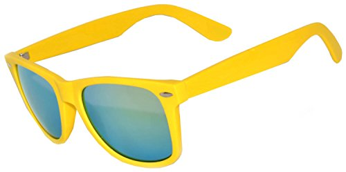1 Pair Mirrored Reflective Blue Lens Sunglasses Yellow Matte Frame Horn Rimmed - Owl Rimmed Glasses
