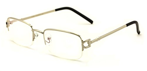 V.W.E. Rectangular Half Rim Metal Reading Glasses With Anti-reflective AR Coating (Silver 1.25)