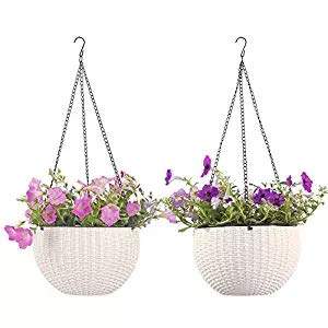 Growers Hanging Basket, Indoor Outdoor Hanging Planter Basket, 8.9 in.Round Resin Garden Plant Hanging Planters Decor Pots, Set of 2 ()
