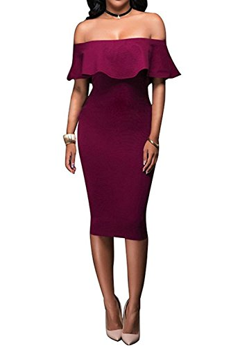 Wonderoy Women's Ruffles Off Shoulder Fitted Club Party Cocktail Bodycon Midi Dress L Burgundy