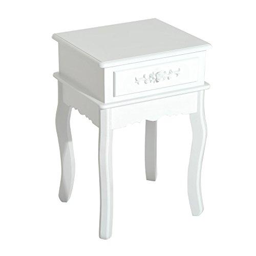 HomCom 24' Wood End Table w/ Storage Drawer - White