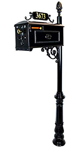 (Addresses of Distinction Reagan Mailbox with Post - Includes Custom Address Numbers - Decorative Black Post Mount Mailbox - Metal Heavy Duty Postal Mailbox System)