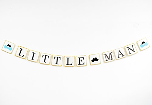 Firefairy Little Man with Mustache Bowtie Silhouette Banner for Boy Baby Shower, Gender Reveal Birthday Party (Little Man Decorations)