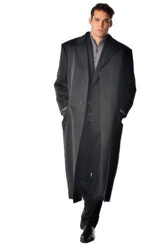 Men's Full Length Overcoat in Pure Cashmere (Black, 50)