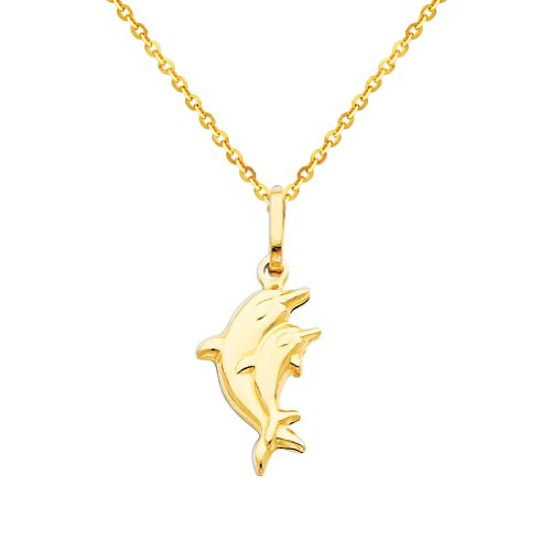 Wellingsale 14k Yellow Gold Polished Dolphin Charm Pendant with 1.2mm Side Diamond Cut Cable Chain Necklace - (Cut Dolphin Charm)