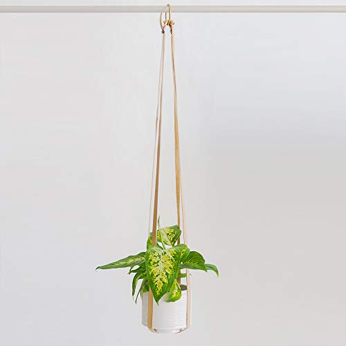 Plant Hanger | Hanging Planters for Indoor Plants | Adjustable Vegan Leather in Beige or Brown | Planter Holder for Pot or Basket to Hang from Wall (Sandy Beige)