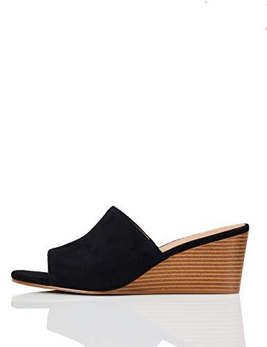 Marchio Amazon – find. – Mule Wedge Leather, Scarpe col tacco punta aperta Donna