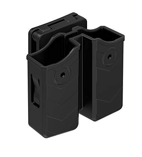 (HQDA Universal Double Magazine Belt Clip Holster, 9mm/.40 Dual Stack Magazine Pouch Mag Holder for Glock Smith & Wesson Sig Sauer Beretta H&K Colt Browning Ruger Taurus and Most Pistols)
