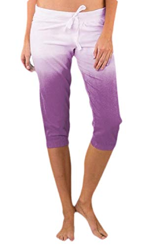 - SELX Women Mid Rise Drawstring Bermuda Shorts Gradient Color Jogger Sweatpants Capri Pants Purple L