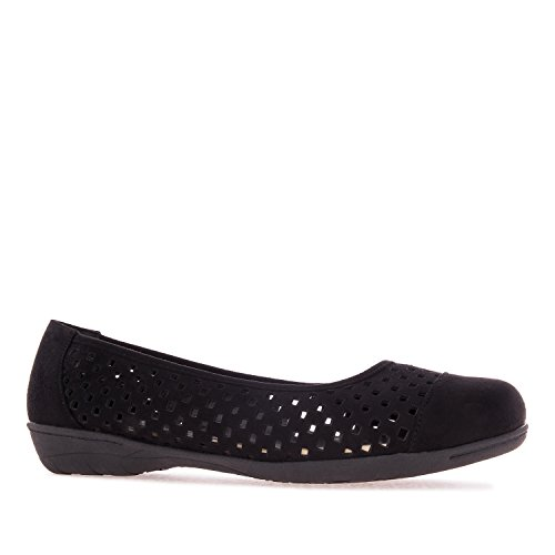 Andres Machado AM5153 Suede Die-Cut Flats.Large Sizes:UK 8 to 10.5/EU 42 to 45. Black Suede ta36nodK