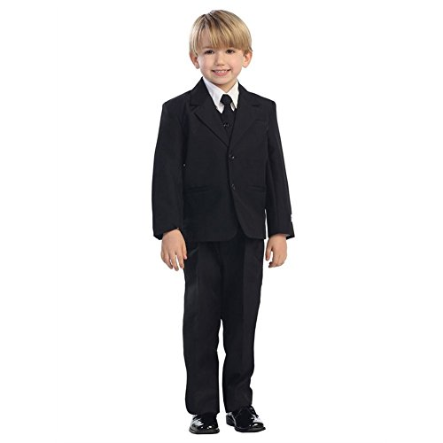 Tip Top Kids Little Boys Black Single Breasted Jacket Vest Shirt Tie Pants 5 Pc Suit 7 -