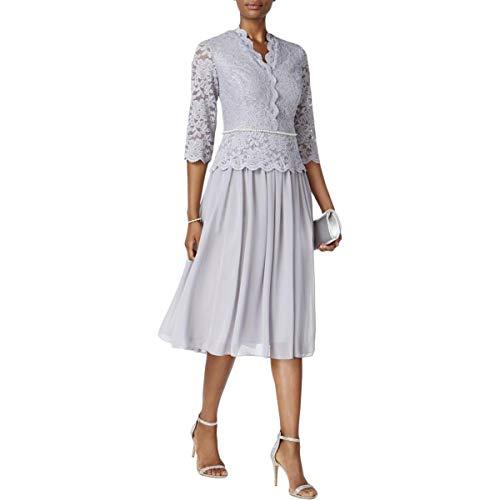 Alex Evenings Women's Faux-wrap Mock Lace Dress with Tea Length Skirt, Silver, -