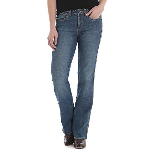 (Wrangler Women's Aura Instantly Slimming Mid Rise Boot Cut Jean, Blue Legend, 14 Average)