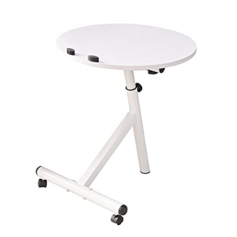Clearance Emall Life Functional Laptop Desk Notebook Table Adjustable Over Sofa Bed Stand Holder with Wheels (White)