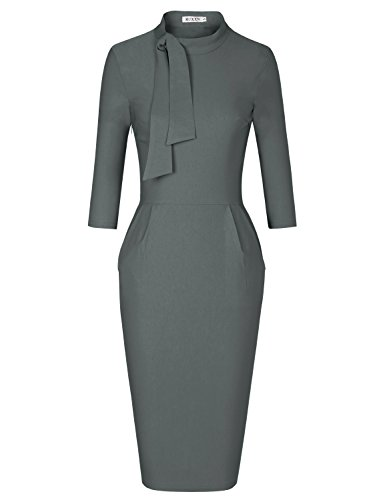 MUXXN Women's Elegant Half Sleeve Empire Waist Graduation Vintage Pencil Dress (Gray XXL) (Dress Suits For Women Plus Size)