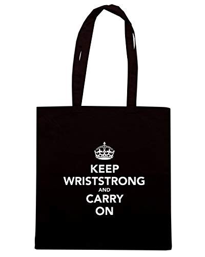 Borsa Shopper Nera TKC0143 KEEP CALM AND KEEP WRISTSTRONG AND CARRY ON