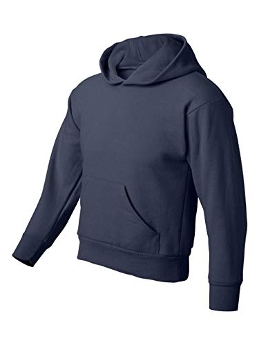 Hanes Youth 7.8 oz 50/50 Pullover Sweatshirt w/hood in Navy - Large ()