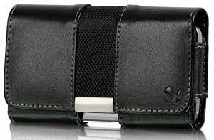 Bloutina Blackberry Curve 8310 Black Leather With Fabric Case Pouch Metal Bracket Hidden Magnetic Closure Built In Belt...
