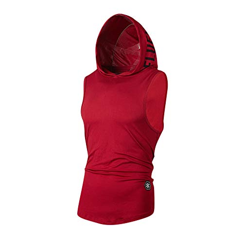 YOcheerful Men Vest Hoody Hood Sleeveless Tank Top Summer Sportswear Zip Tunic (Red,M)