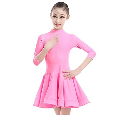 Embiofuels(TM) New Girls Candy Color Ballroom Tango Dance Costumes 3/4 Long Sleeve Dance Practice Clothing Turtleneck Toddler's Party Dress by Embiofuels (Image #5)