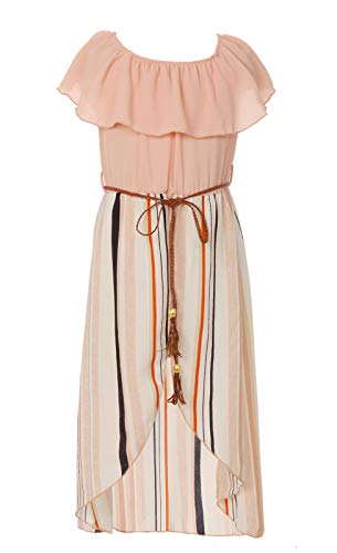 (Little Girls Off Shoulder High Low Maxi Split Skirt Romper Casual Dress Summer Birthday Jumpsuits USA 2142 Blush Pink Size 6)