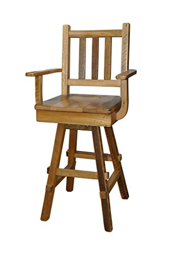Rustic Reclaimed Barn Wood Swivel Bar Stools with Scoop Seats and Arms -Set of 2 ()