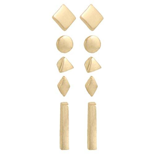 Diamond Geometric Earrings (Zen Styles Geometric Circle, Triangle, Square, Diamond, Bar Stud Earrings Set of 5, Women's and Men's Fashion Stud Earrings in Gold Tone)